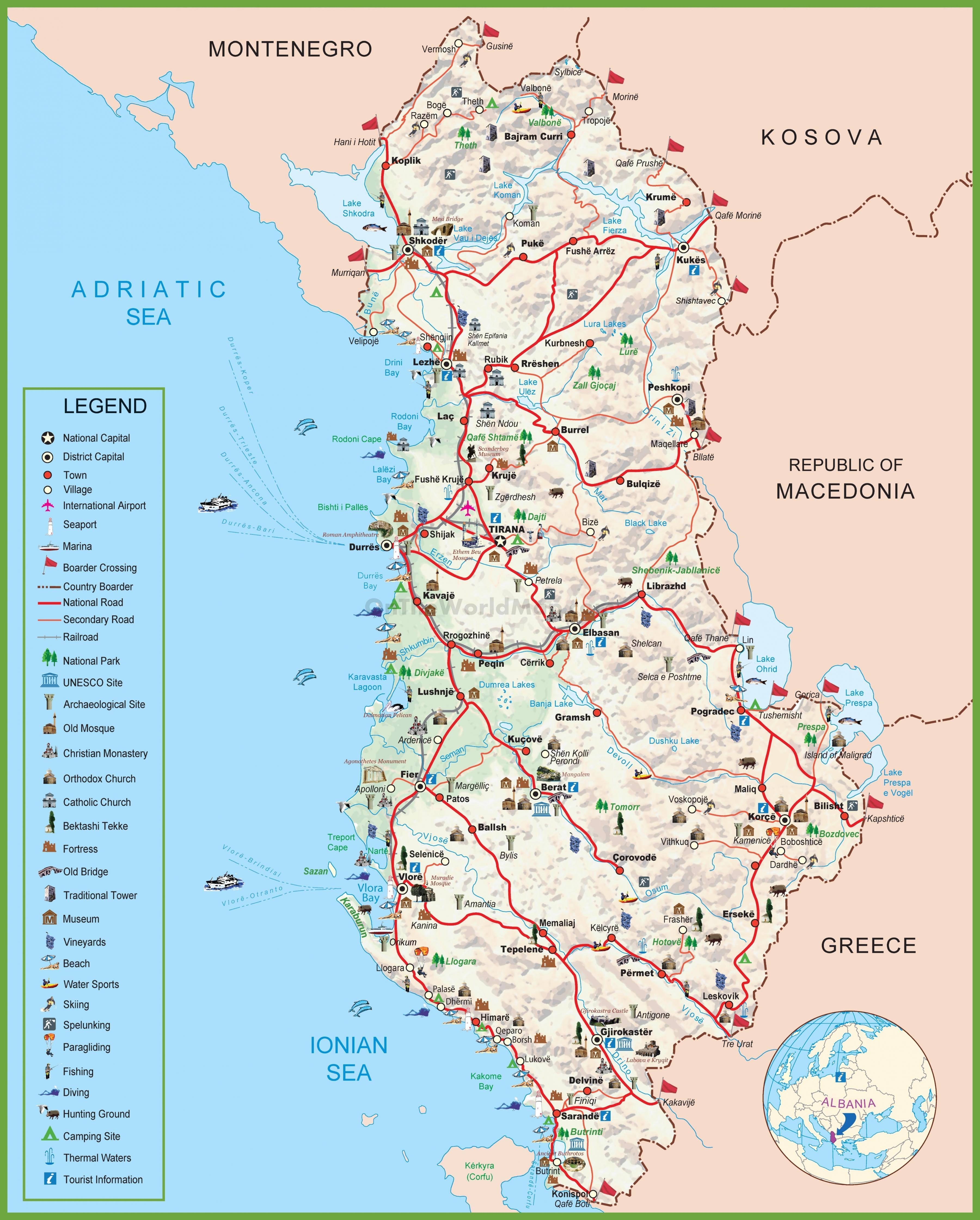 Albanie Turisticka Mapa Mapa Albanie Turisticke Jizni Evropa